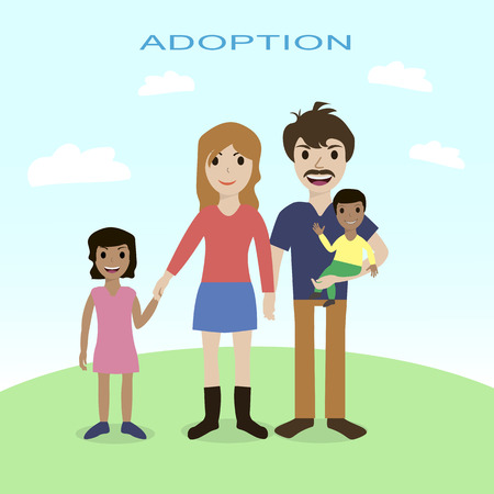 happy families: Happy family, adoption, love, mother, father, children Illustration