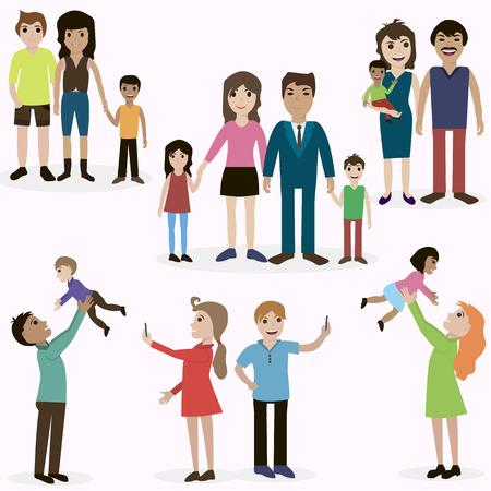 Gelukkige familie, goedkeuring, liefde, moeder, vader, kinderen