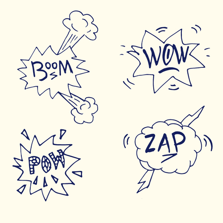 onomatopoeia: comic boom or blast explosions and comic effects set