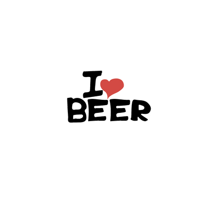 beer house: Home brewed beer house crafted beer I love beer brewery drink alcohol hand-drawing holiday inscription lettering Illustration