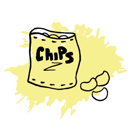 potato chip: pack of crisps hand-drawing beer snack food potato Illustration