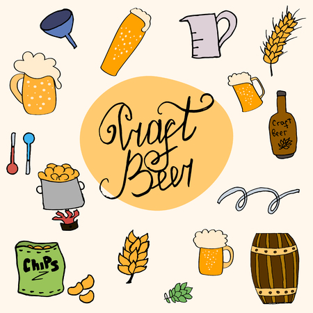 clip art wheat: Home brewed beer house crafted beer I love beer brewery drink alcohol hand-drawing holiday inscription lettering Illustration