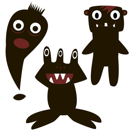 sea monster: funny monsters painted black, silhouette, pretty, simple