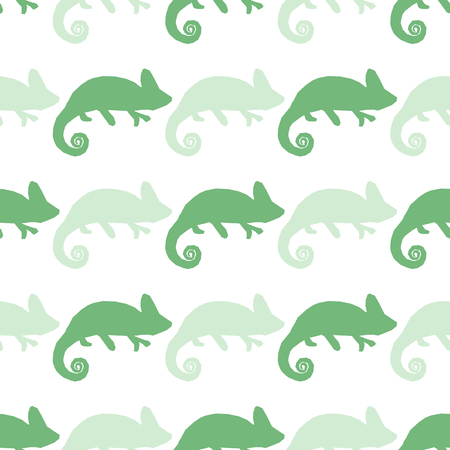 blue dragon: Seamless wallpaper with chameleon isolated on white. Green and blue masquerading lizard. Seamless pattern with han drawn chameleon Illustration