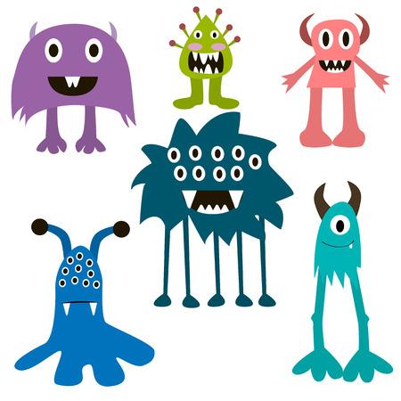 monster teeth: Cartoon monsters big set. Colorful toy monster, cute monster. Monster flat, monster alien, monster kids, monster animals, monster teeth, monster art, monster cool, monster icons. Monster vector EPS 10