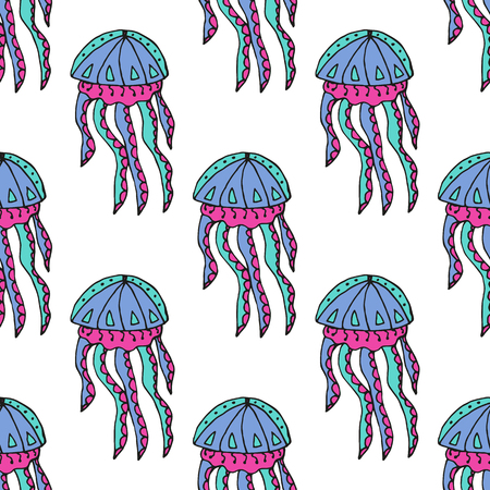 hydrozoa: Hand drawn jellyfish. Vector illustration. Sea collection. Summer time Illustration