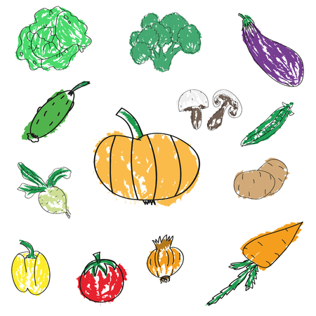 Set of various doodles, hand drawn rough simple sketches of different kinds of vegetables.