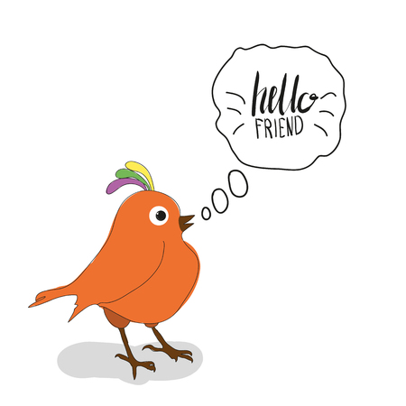 friendship day: Bird says friendship day cute hand drawing vector illustration for your design