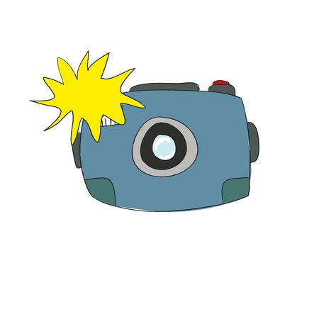 the camera is hand-drawing cute cartoon doodle