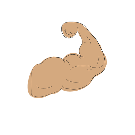 freehand cartoon strong arm flexing bicep sport Illustration