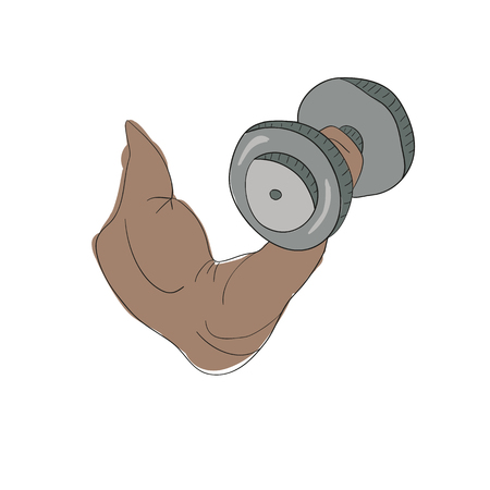 in flexed: freehand cartoon strong arm flexing bicep sport Illustration