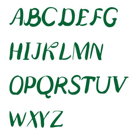 script: Vector hand drawn alphabet. Brush painted letters. Handwritten script alphabet. Illustration