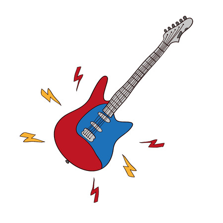 Electric guitars vector Music symbols isolated on white background.