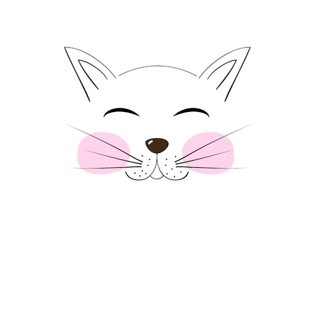 meow: cute cat muzzle cheeks drawn cartoon hand drawing for your design illustration