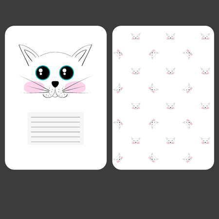 diary page: Sweet page for notebook cat diary. Funny cover. For your sprinkler, blaknot, card. A4 Fotrmat