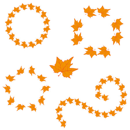 turns of the year: Autumn leaf. Doodle style. Set frames. Hand drawing. for your design.