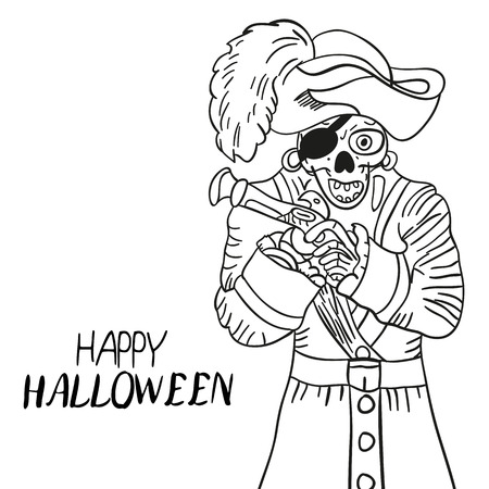 peril: Skeleton pirate. Halloween. Skull and Bones. Sketch. Hand drawing. For your design Illustration