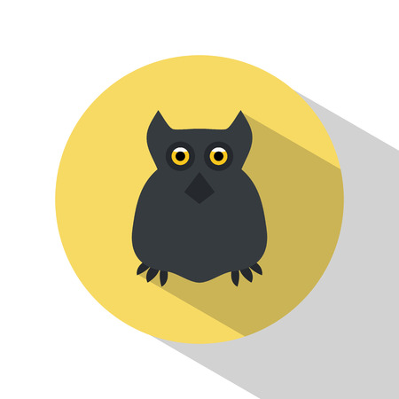 frighten: Owl. Icon. Halloween. All Saints Day. Frighten. Night-bird. For your design Illustration