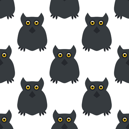 frighten: Owl. Seamless pattern. Halloween. All Saints Day. Frighten. Night-bird. For your design