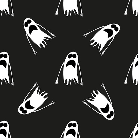 frighten: Ghost. Seamless pattern. Halloween. All Saints Day. Frighten. For your design
