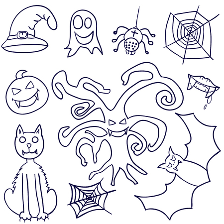 all saints day: Set of Halloween. Doodle. Hand drawing. Lovely. Celebration. All Saints Day. For your design