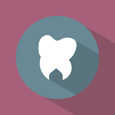 Icon. Tooth. Dental. Round. Bright. Flat design. For your use