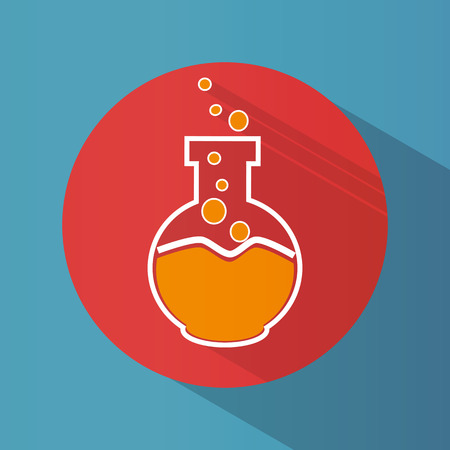 Icon. Chemical laboratory flask. Tube. Tests. Science Round. Bright. Flat design. For your use Illustration