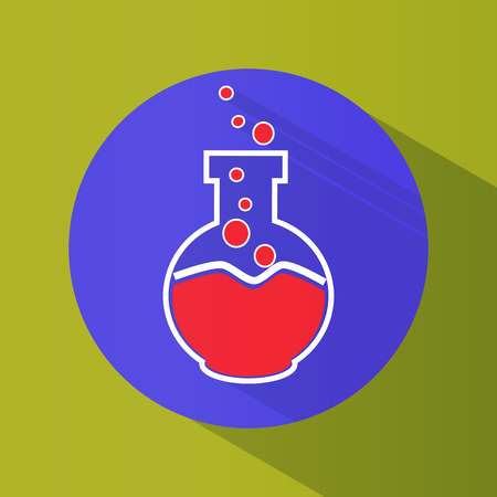 Icon. Chemical laboratory flask. Tube. Tests. Science Round. Bright. Flat design. For your use