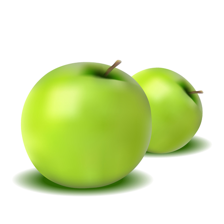 Realistic apple isolated on white background. Useful vitamins. Fruit.