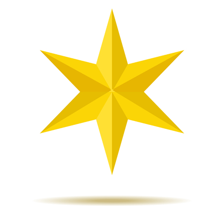 Star on Yellow for Ornaments with Six-pointed edges For your design. Stock fotó - 94098464