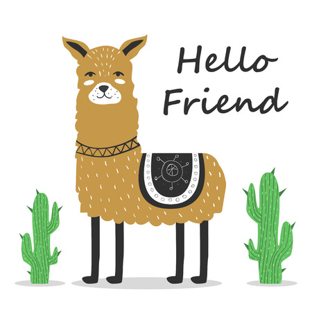 Cute Llama Greeting postcard