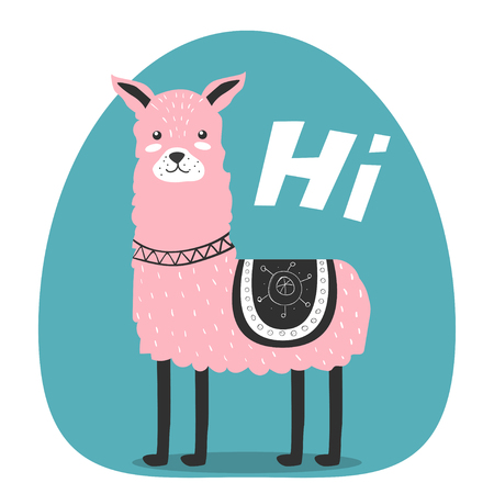 Cute. Lama. Greeting. Scandinavian. Funny. Childrens. Print, postcard.