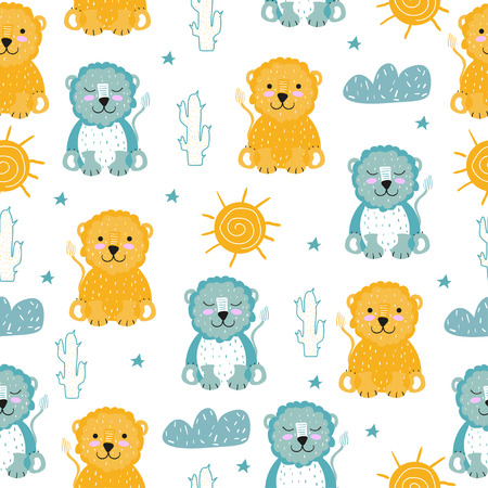 Cute. Seamless pattern. A lion. Scandinavian style. Bright. Children's. print. For the boy and the girl. For clothes, postcards. Vectores