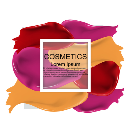 Cosmetics. Lipstick. Smear. Track. Frame. Realistic. Bright. Background. Presentation. For the magazine, the layout. For your design.