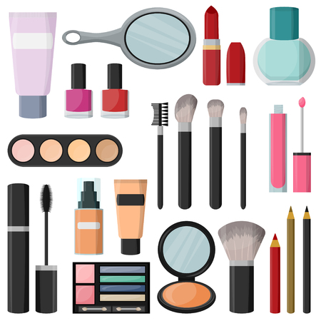 Cosmetics Set for Fashion For a girl  isolated on plain background.