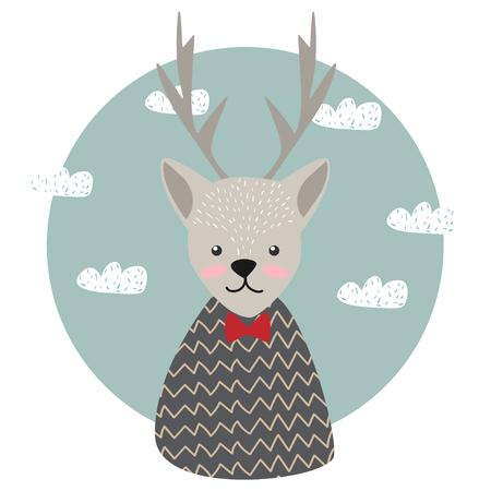 Cute. Deer. Scandinavian style. Children's. Print. For clothes, postcard. Vettoriali