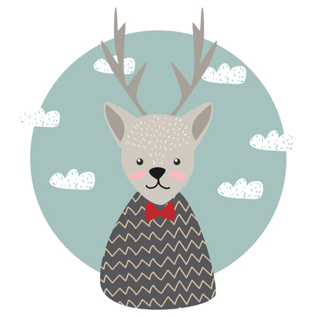 Cute. Deer. Scandinavian style. Children's. Print. For clothes, postcard. Ilustracja