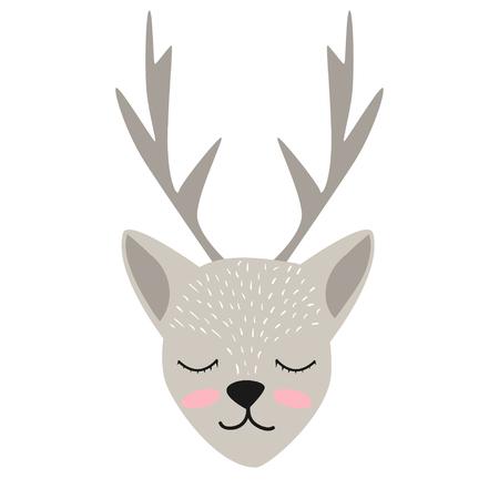 Cute deer cartoon vector illustration isolated on white background. 일러스트