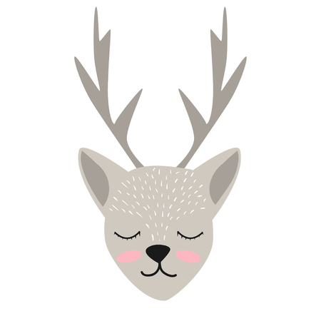 Cute deer cartoon vector illustration isolated on white background. Illustration