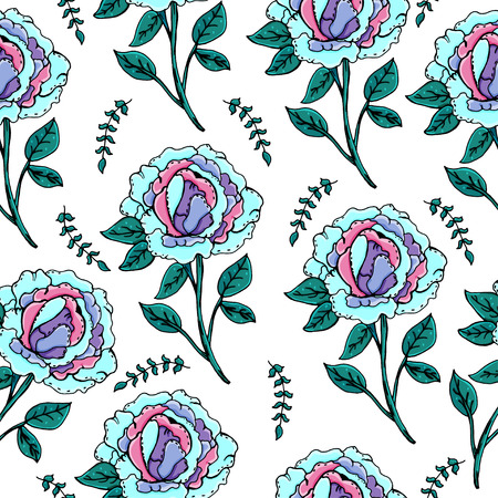 Beautiful peonies flower. A set of plants for postcards, covers and print on clothes.
