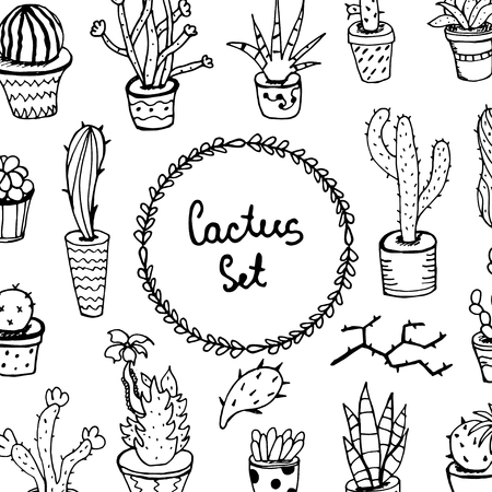 A set of cactus seamless pattern in linear hand-drawn, Barbed Flower illustration For your design. Circuit. Иллюстрация