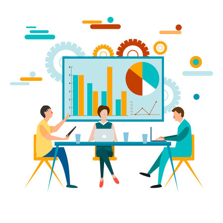 Business Team job. Businessman and manager plan conversation to gather ideas and concept vector illustration for your design. Ilustrace