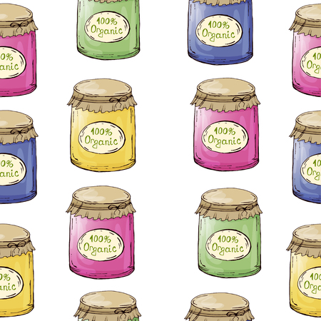 Decorative jars with jam. Pickles. Blanks for the winter. Hand drawing. For your design.