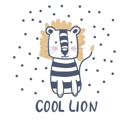 Cute lion. Scandinavian style. Children's. For a postcard, print on a T-shirt. For design. Muzzle.