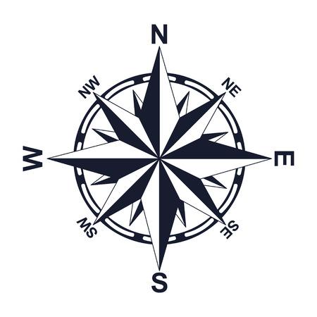 Brújula. Dirección. Norte Oeste Este Sur. Por su diseño. Icono. Ilustración de vector