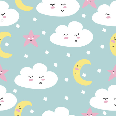 Cute. The Cloud. Seamless pattern. For print on postcard. Confession. child. Scandinavian style.