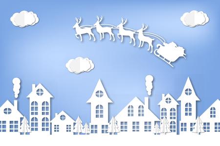 Papierstadt. Winter. Neujahr und Weihnachten. Origami. Zärtlich. Wolke. Origami. Zum Drucken auf eine Postkarte.