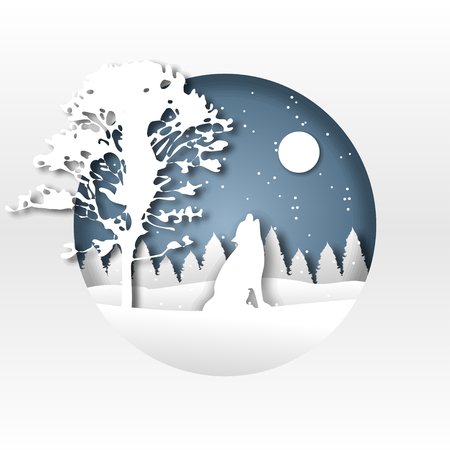 Paper art. Origami. The wolf in the winter forest. New Year. Christmas. Silhouette. For printing on postcards. For design.