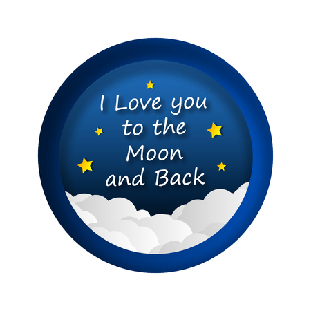 Paper art. I love you to the moon and back. Space. Universe. Planets and rockets. Traveling around the galaxy. Origami.