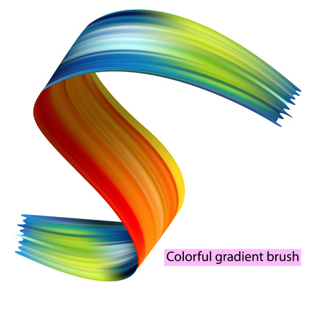 Colorful gradient brushes. Bright spectral. Colorful set of brushes of orange, blue, green colors isolated on white background.
